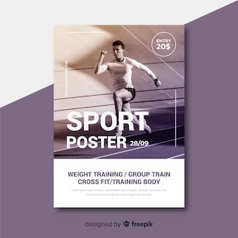 Plantilla de póster deportivo con imagen