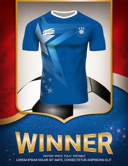 Plantilla de póster deportivo con uniforme de jersey de fútbol