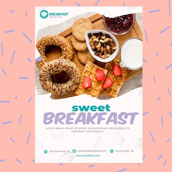 Plantilla de póster de desayuno de restaurante dulce