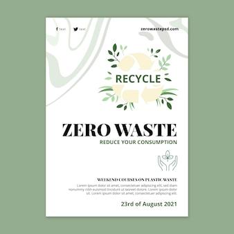 Plantilla de póster de desperdicio cero