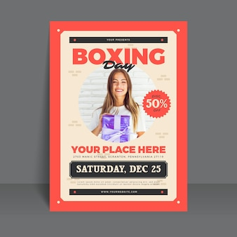 Plantilla de póster del día del boxeo