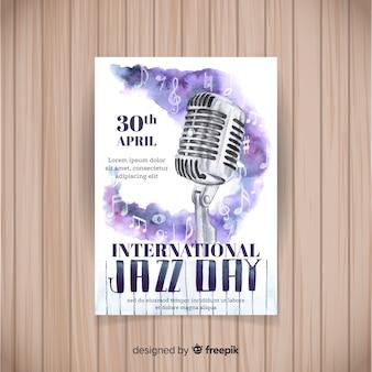 Plantilla de poster del día internacional del jazz en acuarela