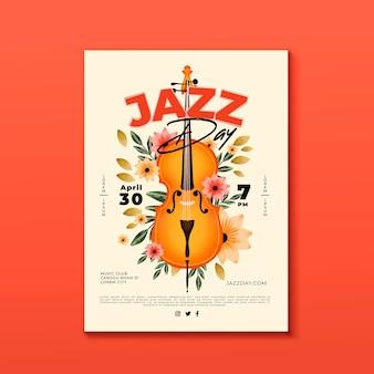 Plantilla de póster del día internacional del jazz en acuarela