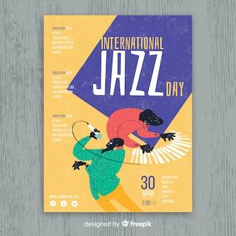 Plantilla de poster del día internacional del jazz dibujado a mano