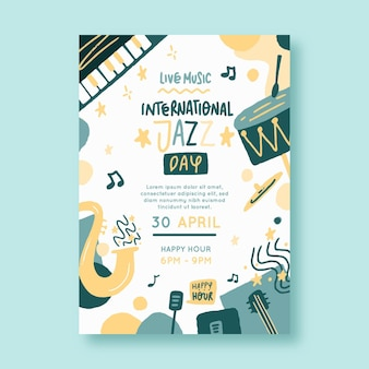 Plantilla de póster del día internacional del jazz dibujado a mano