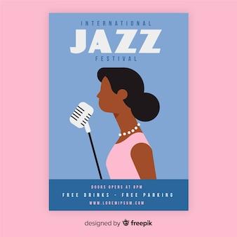 Plantilla de poster del día internacional del jazz en diseño plano