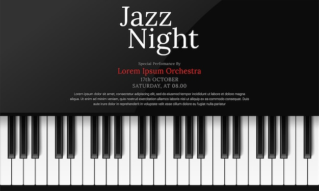 Plantilla de póster del día internacional del jazz con piano