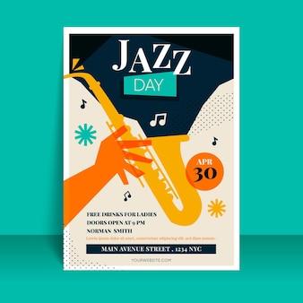 Plantilla de póster del día internacional del jazz plano orgánico