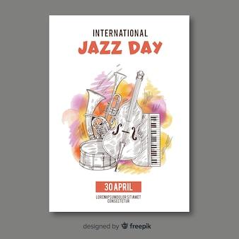 Plantilla de poster del día internacional del jazz