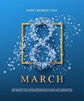 Plantilla de póster del día de la mujer. marco dorado y número compuesto de flores.