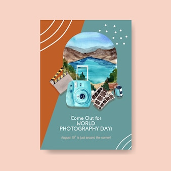 Plantilla de póster para el día mundial de la fotografía