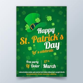 Plantilla de póster del día de san patricio en diseño plano