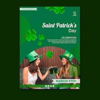 Plantilla de póster del día de san patricio con foto