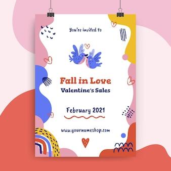 Plantilla de póster del día de san valentín