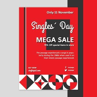 Plantilla de póster del día de los solteros