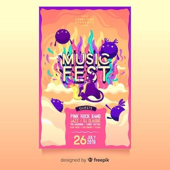 Plantilla de póster dibujado de festival de música