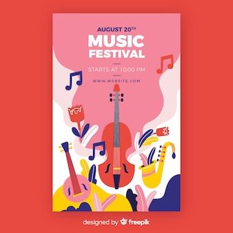 Plantilla de poster dibujado de festival de música