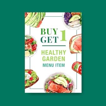 Plantilla de póster con diseño de alimentos saludables y orgánicos.