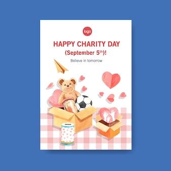 Plantilla de póster con diseño de concepto del día internacional de la caridad