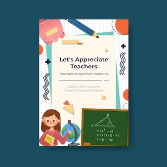 Plantilla de póster con diseño de concepto del día del maestro para folleto y folleto