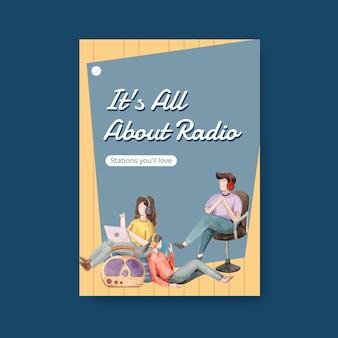 Plantilla de póster con diseño de concepto del día mundial de la radio para publicidad e ilustración de acuarela de negocios