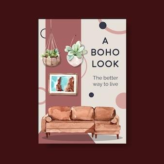 Plantilla de póster con diseño de concepto de muebles boho para folleto y marketing ilustración acuarela