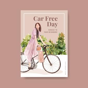 Plantilla de póster con diseño conceptual del día mundial sin automóviles para folletos y folletos en acuarela