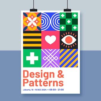 Plantilla de póster de diseño del festival con cuadrados coloridos