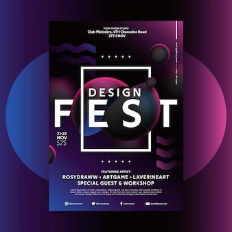 Plantilla de póster de diseño del festival con formas creativas