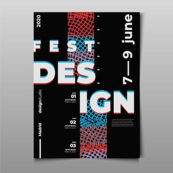 Plantilla de póster de diseño glitched del festival