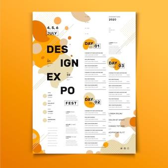 Plantilla de póster de diseño de programación de eventos