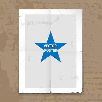Plantilla de póster doblado hecho jirones de grunge con líneas de pliegue y una estrella central colgada en una pared