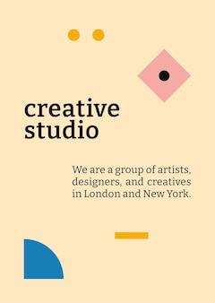Plantilla de póster editable vector diseño plano inspirado en bauhaus con texto de estudio creativo
