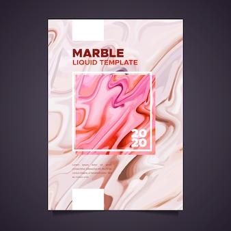 Plantilla de póster de efecto fluido de mármol colorido