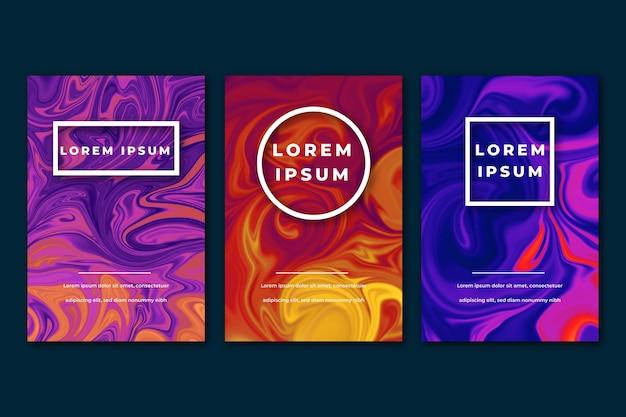 Plantilla de póster de efecto fluido de pintura al óleo de colores vivos