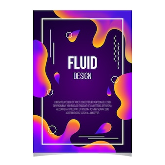 Plantilla de póster de efecto fluido