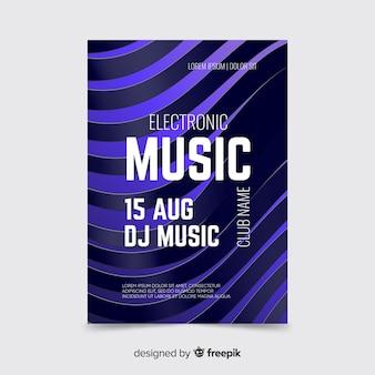 Plantilla de póster de efecto de onda de sonido 3d