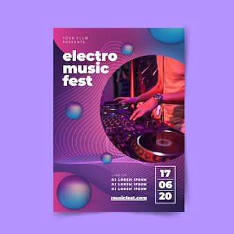 Plantilla de póster de electro music fest