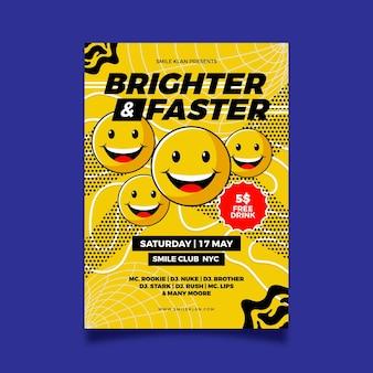 Plantilla de póster de emoji ácido plano ilustrada