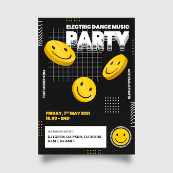 Plantilla de póster de emoji ácido plano