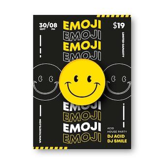 Plantilla de póster de emoji ácido realista