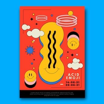 Plantilla de póster de emoji ácido