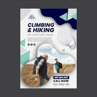 Plantilla de póster de escalada y senderismo.