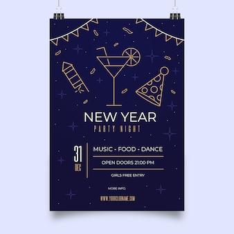 Plantilla de póster en estilo de contorno para fiesta de año nuevo