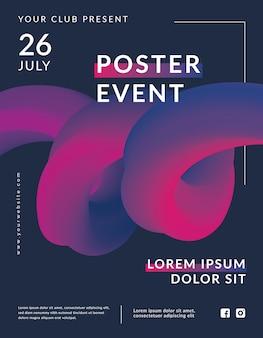 Plantilla de póster de evento de forma de flujo creativo de diseño 3d