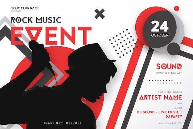 Plantilla de póster de evento de música rock con formas geométricas