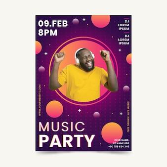 Plantilla de póster del evento musical 2021 en estilo memphis con foto