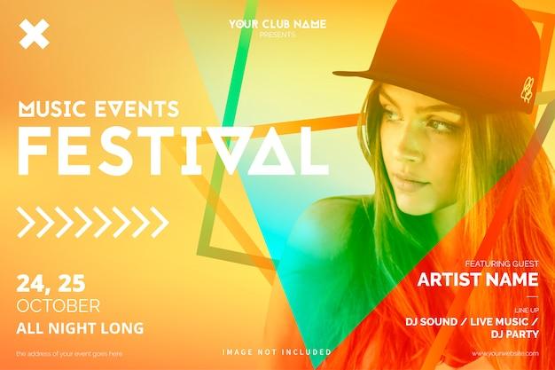 Plantilla de póster de evento musical colorido