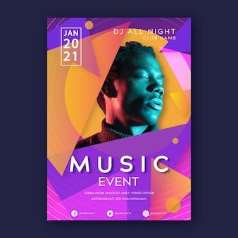 Plantilla de póster de evento musical con foto