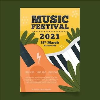 Plantilla de póster de evento musical de guitarra y teclado